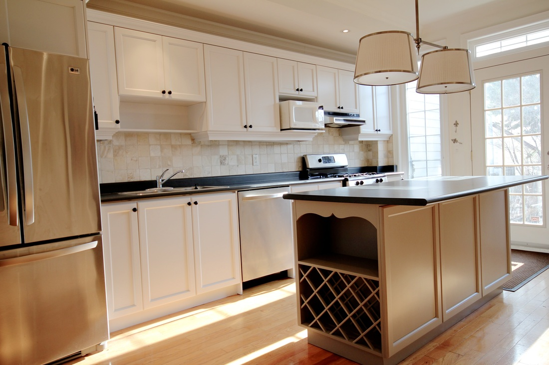 A classy kitchen with white cabinets