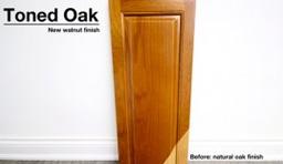 Toned oak cabinet door